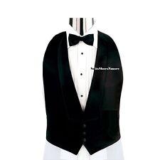 New Men's S M L XL Black Satin Tuxedo Tux Vest Bow tie low cut Open back adj.