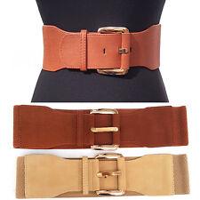 Classy WOMEN Fashion Wide ELASTIC BELT stretch Waist Gold Metal buckle S M L XL