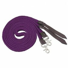 Tough-1 Purple Pro Cotton Flat Braided Split Reins w/ Nylon Poppers Horse Tack