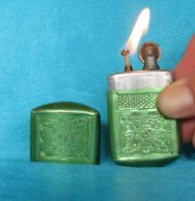 Vintage 1960's (1920's reproduction) Green Aluminium Lighter. Working!