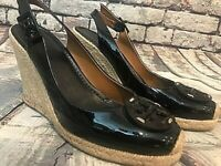 Tory Burch Halli Black Patent Leather Slingback Espadrille Wedge Sandals, Sz 8.5