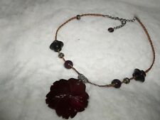 """""""FLOWER NECKLACE""""  Handmade, Beaded, Leather Cording, Lobster Claw Clasp"""