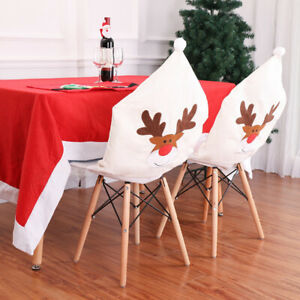 Christmas Home Dining Chair Back Cover Snowman Santa Claus Xmax Decoration Party
