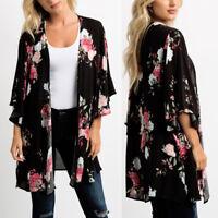 Women Ladies Chiffon Shawl Floral Kimono Cardigan Tops Cover Up Blouse Beachwear