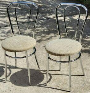 Vtg Set Of 2 Italian Chrome Metal Chairs Seats Double Hoop Frames Cafe MCM RARE