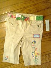 NWT SUPER CUTE BEIGE PANTS WITH SASH & EMBROIDERED FLOWERS 18 MONTHS