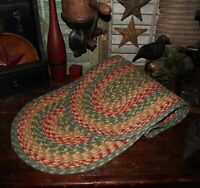"""Primitive Natural Cotton Braided 48"""" TABLE RUNNER Trivet/Placemat Oval #42"""