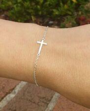 Genuine 925 Sterling Silver Sideways Cross Bracelet