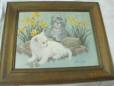 Vintage Art Print pair of Kittens in Daffodils signed Arthur Sarnoff