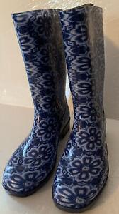 Rain & Garden Boots Blue White Floral Women Size 8 New