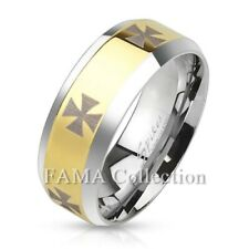 FAMA Iron Cross Stainless Steel Gold IP Center Band Ring Beveled Edge Size 9-14
