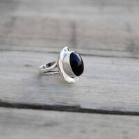 Handmade Solid 925 Sterling Silver Oval Shape Black Onyx Ring KGJ-R-1053
