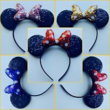 Minnie Mouse Ears Headband - Red/White/Pink/Gold Sequin Dot Bow & Sequin Ears