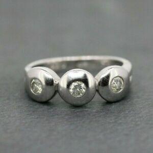 9ct White Gold 0.29ct Diamond Three Stone Ring Size L 1/2, US 6