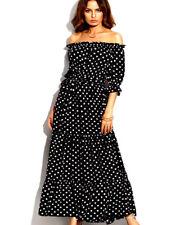 Womens Summer Boho Off Shoulder Polka Dot Long Maxi Party Evening Beach Dress