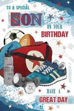 A Special Son Sports Bag Balls Weights Design Lovely Verse Happy Birthday Card