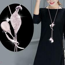 FT- Fashion Women Shiny Rhinestone Flower Pendant Long Sweater Chain Necklace Ex