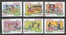Set of 6 Disney Cartoon Stamps from Lesoto 1982 Old Christmas Mint Singles