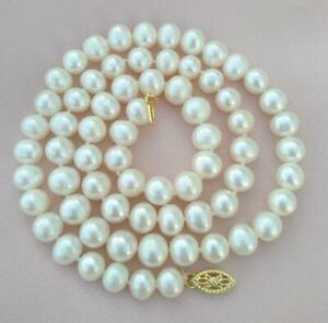 20 Inch New 7-8mm AAAA Akoya White Pearl Necklace 14k Yellow Gold Clasp