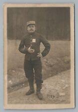 German WWI Soldier Smoking Cigarette RPPC Franz Beck MUSTACHE Foto AK Ohrdruf