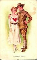 Vtg Postcard Artist Signed Archie Gun Shoulder Arms WWI Soldier Romantic