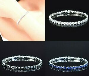3mm Womens 925 Silver Plated Crystal Diamante Tennis Bracelet Bangle Bridal Gift