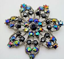 BEAUTIFUL VINTAGE  FLOWER STYLE CLEAR/CLEAR AB STONE BROOCH FASHION PIN  #2