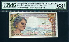 Madagascar 1966, 500 Francs ( 200 Ariary ), Specimen, P58s, PMG 63 NET UNC