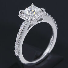 1.4 ct tw Ritani French Set 18k White Gold Diamond Ring 1 carat Leo Princess Cut