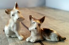 Vtg Dog Puppy Ceramic China Figurines Scotty or Fox Terrier Brown Set of 2 Japan