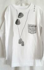 BOYS S 5 6 WHITE SUNGLASS DOG TAG FAKE POCKET L/S SHIRT NWT THE CHILDREN'S PLACE