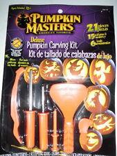 PUMPKIN MASTERS CARVING KIT DELUXE-21 pcs NIP Patterns,Tools,Saw,Scoop,Halloween