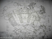 HARLEY DAVIDSON 61ci KNUCKLHEAD Engine BLUEPRINT EL HD plan poster knuckle