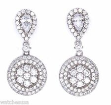 Cz Stone Fashion Earrings Gm-118 New Sterling Silver Rhodium Plated