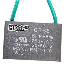 HQRP Capacitor para Harbor Breeze de Ventilador de Techo 5uf, 2-Alambres / CBB61
