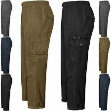 Mens Fleece Lined Thermal Walking Cargo Cargo Winter Elasticated Trousers S-5XL