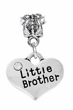 Little Brother Heart Younger Sibling Dangle Bead for European Charm Bracelets
