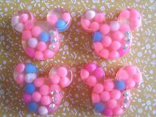 4 x Mickey Minnie Head with Crystal Flatback Resin Embellishment Cabochon Crafts