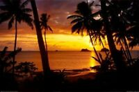 SUNSET LAGOON - SCENIC ART POSTER - 24x36 OCEAN TROPICAL BEAUTY 36253