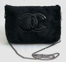 NEW CHANEL BEAUTE Precision Terry Velour Bag Makeup Chain Pouch Black