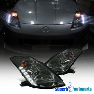 For 2003-2005 Nissan 350Z SMD LED HID Projector Headlights Head Lamps Smoke
