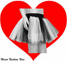 White Black Neon UV tutu skirt Punk Gothic Emo rock Fairy Dance party Halloween