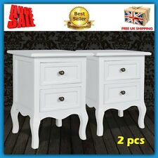 Pair Night Stand White Bedside Table Shabby Chic Drawers Room Furniture Vintage