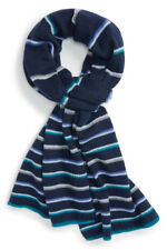 NWT NORDSTROM HALOGEN Navy Combo Color Stripe Knit Wool Cashmere Scarf OS $99