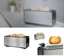 Toaster Edelstahl XXL 4 Scheiben Langschlitz Brötchenaufsatz 1400 Watt NEU&OVP