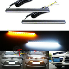 2 Ultra Slim Switchback White/Amber LED DRL Daytime Running Lights Fog Lamps Kit