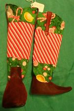 Red Alligator & Peppermint Christmas Cowboy Boots for My Size Barbie Doll MYBT46
