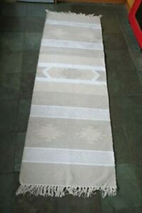 Urban Outfitters Woven Cotton Kilim Runner Rug Creme (70x200cm) RRP £60!