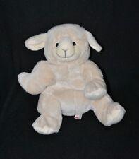 Peluche doudou mouton NICOTOY blanc crème visage brodé 21 cm assis TTBE