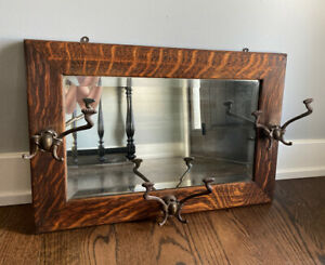 Antique Victorian Tiger Oak Hall Mirror With Three Brass Double Coat Hooks